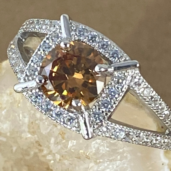 Gem Emporium Jewelry - Champagne Sapphire CZ's set in a 925 Silver Ring